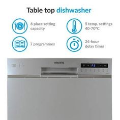 electriQ 6 Place Freestanding Compact Table Top Dishwasher - Silver--228.97 Table Top Dishwasher, Countertop Dishwasher, Dishwasher Cover, Refrigerator Covers, Dishwashers, Health Recipes, Baby Bottles, No Cook Meals, Save Energy
