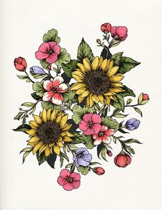 Love the bouquet idea for a tattoo. Definitely like the sunflowers at least