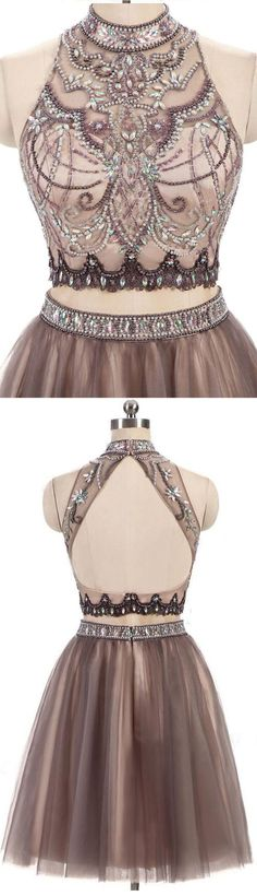 New Arrival High Neck 2 Pieces Backless Homecoming Dresses,Short Prom Cute Dress,Party Gowns,Short Homecoming Dress Backless Homecoming Dresses, Grad Dresses, Prom Party Dresses, Party Gowns, Ball Dresses, Midi Dresses, Dress Party, Evening Dresses, Dresses Short