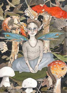 The Autumn Woodland Fairy  Fairy Art Print 6 x 8 by SnowFairyFarm, $18.00