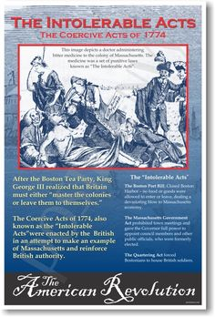 American Revolution: The Intolerable Acts - Classroom Social Studies Poster - PosterEnvy.com