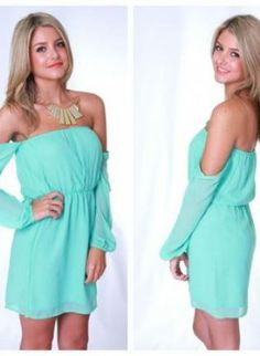 Mint Blue Off the Shoulder Dress - Great dress for attending weddings in the summer.