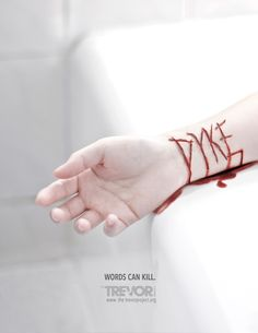 """With the tagline """"Words Can Kill,"""" the images demonstrate how bullying with hurtful and derogatory slurs can have serious consequences. 