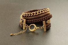 Gold And Copper Double Wrap Zipper Bracelet