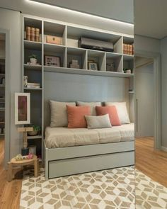 Retractable bed: options to buy and 30 space saving ideas - ChecoPie Room Ideas Bedroom, Bedroom Decor, Cute Room Decor, Home Room Design, Furniture For Small Spaces, Teen Bedding, Dream Rooms, Home Office, Office Interiors