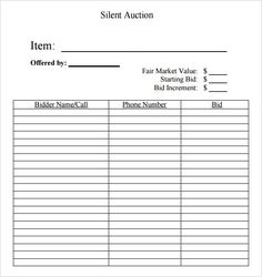 Silent Auction Bid Sheet - Opening bid amount needs to be printed on the bid sheet together with the incremental bid amount. The bid sheets are among the principal aspects in th. Silent Auction Bid Sheets, Silent Auction Donations, Silent Auction Baskets, Donation Letter Template, Donation Form, Donation Request, Receipt Template, Raffle Baskets, Gift Baskets