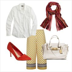 5 ways to style a white button down for summer: culottes with heels a classic bag and silk scarf for work
