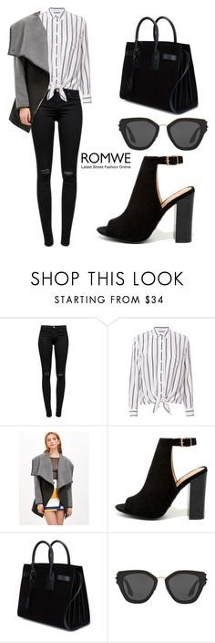 """ROMWE Coat"" by tania-alves ❤ liked on Polyvore featuring J Brand, Equipment, Bamboo, Yves Saint Laurent and Prada"