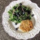 Lemony Cilantro Turkey Burger with a Honey Dijon Blueberry Kale Salad