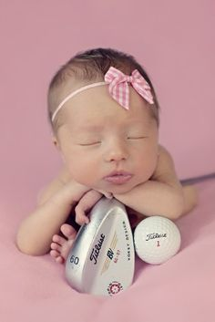 I'm not repinning this because of the golf props, but because this is probably the most beautiful and angelic little baby girl I've ever seen! Stunningly adorable & beautiful!!