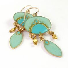 Mint, Turquoise Exotic earrings, Gold Earrings, Dangle, Magic mint  Oval and marquise hanging, gold Crystal Dorado , lightweight earrings. $60.00, via Etsy.