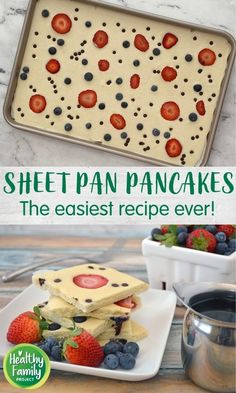 These Sheet Pan Pancakes are so easy to whip up any day of the week – no waiting and no flipping required! Just pour onto a sheet pan, add your toppings and bake. This recipe calls for strawberries, blueberries and chocolate chip, but you can easily mix-and-match with your favorite toppings. Great for feeding a crowd too! Blueberry Chocolate, Mini Chocolate Chips, Blueberries, Strawberries, Pancake Toppings, Batter Recipe, Healthy Breakfast Recipes, Healthy Recipes, How To Make Pancakes