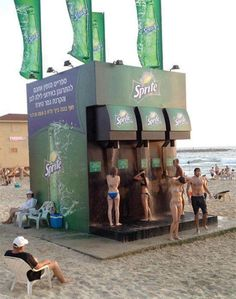 Sprite soda rolls out a cool promotional campaign with this beach side shower. The show is designed to look like a giant Sprite beverage dispenser. Sprite will be setting this shower station on popular beaches in Brazil and Israel.