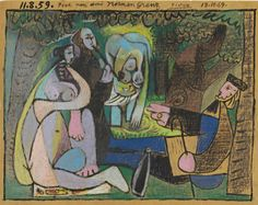 By Pablo Picasso, 1959, Le déjeuner sur l'herbe, colored wax crayons and brush and black ink on panel, Cannes.