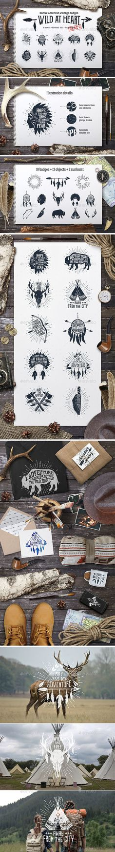 Wild at Heart Native American Vintage Badges Templates Vol.2 - PSD, Transparent PNG, Vector EPS, AI Illustrator