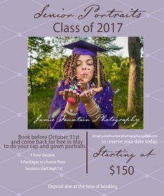 Booking for 2017 Senior portrait sessions. If yo book before October 31st, you can come back for graduation to get photos in your cap and gown for free! Contact me at JamieFountainPhotography@gmail.com for price list and to schedule your consultation. I look forward to hearing from you!