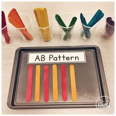 for Friday: March 31 A Simple Kindergarten Math Center: Patterning with Coloured Jumbo Popsicle Sticks and Pattern Name Cards.A Simple Kindergarten Math Center: Patterning with Coloured Jumbo Popsicle Sticks and Pattern Name Cards. Patterning Kindergarten, Kindergarten Lesson Plans, Kindergarten Centers, Preschool Math, Math Classroom, Teaching Math, Teaching Reading, Classroom Ideas, Math Games