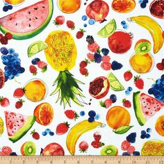 Metro Market Fruits White from @fabricdotcom  Designed by Margaret Berg for Kaufman, this cotton print fabric is perfect for quilting, apparel and home decor accents. Colors include yellow, blue, green, orange and red on a white background.