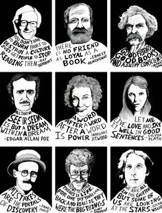 Great Photographic of famous authors and their takes on books: Bradbury, Poe, Tw… – Education Posters Enough Is Enough Quotes, High School English, School Bulletin Boards, English Bulletin Boards, Literary Quotes, Book Quotes, Reading Quotes, Writer Quotes, Wisdom Quotes