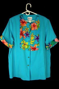 MAGGIE SWEET Blouse 1X Turquoise Floral Trim Short Slv Buttoned Light Shirt Plus…