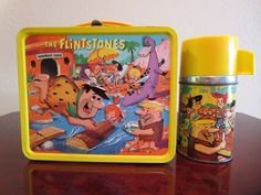 *GREAT* Vintage 1964 FLINTSTONES Lunch Box & Thermos with Aladdin Sticker