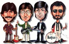 The Beatles (caricature) The Beatles 1960, Beatles Band, Les Beatles, Beatles Lyrics, Cartoon People, Cartoon Gifs, Cartoon Faces, Funny Caricatures, Celebrity Caricatures