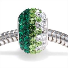 STERLING SILVER CRYSTAL PAVE LARGE HOLE EUROPEAN STYLE BEAD 12X75MM EMERALD RAINBOW from beadaholique.com