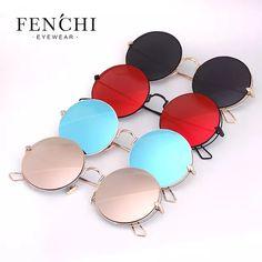 387e85184307d FENCHI Legal Senhora Espelho Sem Moldura Óculos De Sol Óculos De Sol  Redondos Mulheres Marca Revestimento