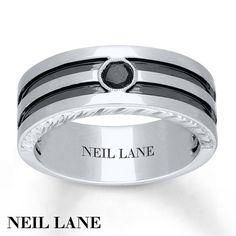 Neil Lane Mens Ring 1 5 Carat Black Diamond 14k White Gold