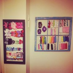 Bow and headband holder I made for Paisley's room. Picture frame. Window. Chicken wire. DIY