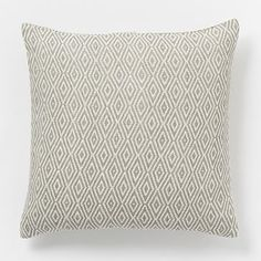 Hand-Loomed Diamond Pillow Cover – Platinum