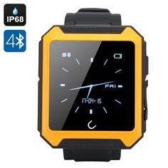 Uterra Bluetooth Smartwatch - IP68 Waterproof, Phone Book Sync, Phone Call, SMS, Sleep Monitor, Pedometer (Orange)