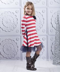 Take a look at this Red & Navy Stripe Insert Ruffle Dress - Toddler & Girls by Mia Belle Baby on #zulily today!