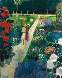 Jean Pierre Cassigneul, Les promeneurs Born in Paris in Cassigneul creates beautiful compositions of striking young women much in the traditon of the early century French Nabis artists. Garden Painting, Garden Art, Fields In Arts, Monet, French Artists, Abstract Canvas, Landscape Art, Figurative Art, Painting Inspiration