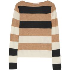 Max Mara Striped cashmere sweater ($630) ❤ liked on Polyvore featuring tops, sweaters, beige, patterned tops, pure cashmere sweaters, striped top, beige sweater and cut loose tops