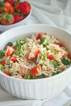 Strawberry & Broccoli Orzo Pasta Salad with Lemon Poppy Seed Vinaigrette
