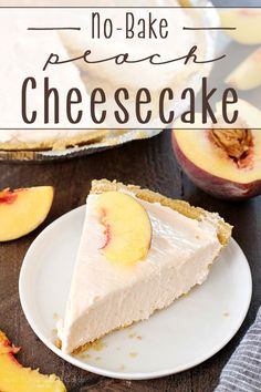 This No-Bake Peach Cheesecake was an INSTANT HIT! This No-Bake Peach Cheesecake is so quick and easy, not to mention delicious! It's the perfect treat all year long! No Bake Treats, No Bake Desserts, Easy Desserts, Dessert Simple, Baking Recipes, Cake Recipes, Dessert Recipes, Peach Cheesecake, Cheesecake Recipes