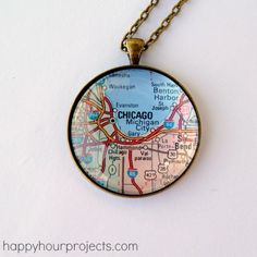 DIY Easy Map Pendant Tutorial from Happy Hour Projects here. Adrianne used to sell these necklaces on her Etsy site, but since she doesnt anymore she posted this really easy tutorial on her blog. Whats nice is you can use any paper souvenir/keepsake for this project. For lots more DIY map projects go here: truebluemeandyou.tumblr.com/tagged/maps