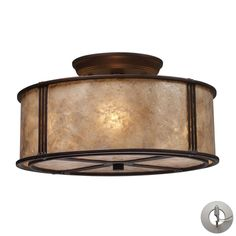 Barringer 3 Light Semi Flush In Aged Bronze And Tan Mica With Adapter Kit 15031/3-LA