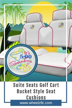 Suite Seats are customizable, top-quality, luxury replacement golf cart seats. They are a beautiful, comfortable set of bucket style seat cushions with excellent lateral stability. Suite Seats are a complete seat replacement, including the vinyl, foam, woods, and hardware. #golfcart #golfcartseats #suiteseats Golf Cart Seats, Custom Golf Carts, Golf Cart Accessories, Seat Available, Bucket Seats, Camping Equipment, Program Design, Things To Buy, Stability