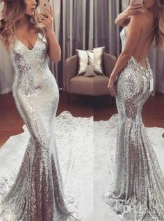 Sexy Silver Sequins Mermaid Prom Dresses Spaghetti Straps Criss Cross Back V Neck Backless Floor Length Evening Dress Gowns