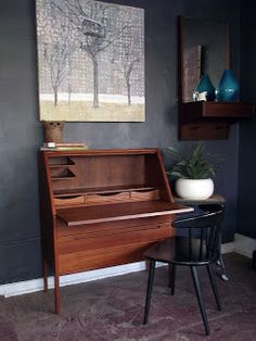 Vintage Ground: Danish Modern Mid Century Secretary / Desk.  The dimensions are 35.5w 17d 42.5h.