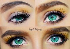 Sky Blue + Emerald Green + Aqua mixed Heterochromic Eyes. I don't know if it's photoshopped or natural eye color or wearing colored contacts, but I don't care. I just need color contact lenses just like these in my life! How pretty  <3 <3 <3 #eye #color #contacts Heterochromia, Greenish Blue Eye, Blue Green Eye.