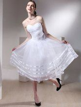Sweet White Gauze #Strapless Applique Mini #Wedding #Dress - $99.99