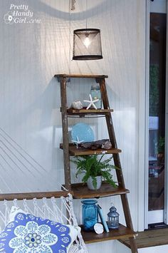 Pretty Handy Girl's screen porch makeover - ladder display shelves