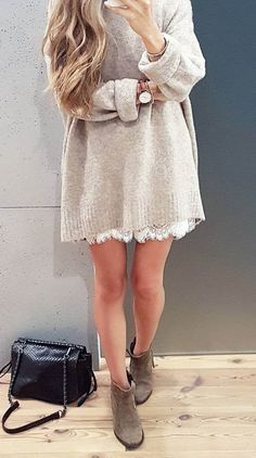 sweater dress + bag + white dress + boots