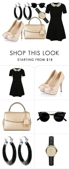 """Cream and Black"" by elli-jane-xox ❤ liked on Polyvore featuring George, MICHAEL Michael Kors and Burberry"
