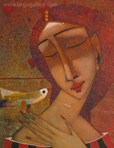 "Peter Mitchev, ""Dreaming with bird"", oil, canvas, 30/24 http://www.largogallery.com/"