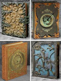 Handmade Books: Ammonite fossils. Make mold, cast in plaster and carve to different sizes. Lay them out and filled holes with dirt. Cast it in a two part Urethane plastic and paint to look like the surface of fossil rock. The curvy brass stuff is cast, the hinges are piano hinges hidden around the bulbous bits.