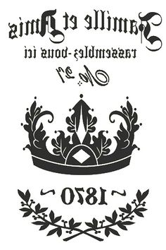 Crown 1870 In reverse image ...................... #DIY #crafts #typography #graphics #vintage #French #furniture #decor